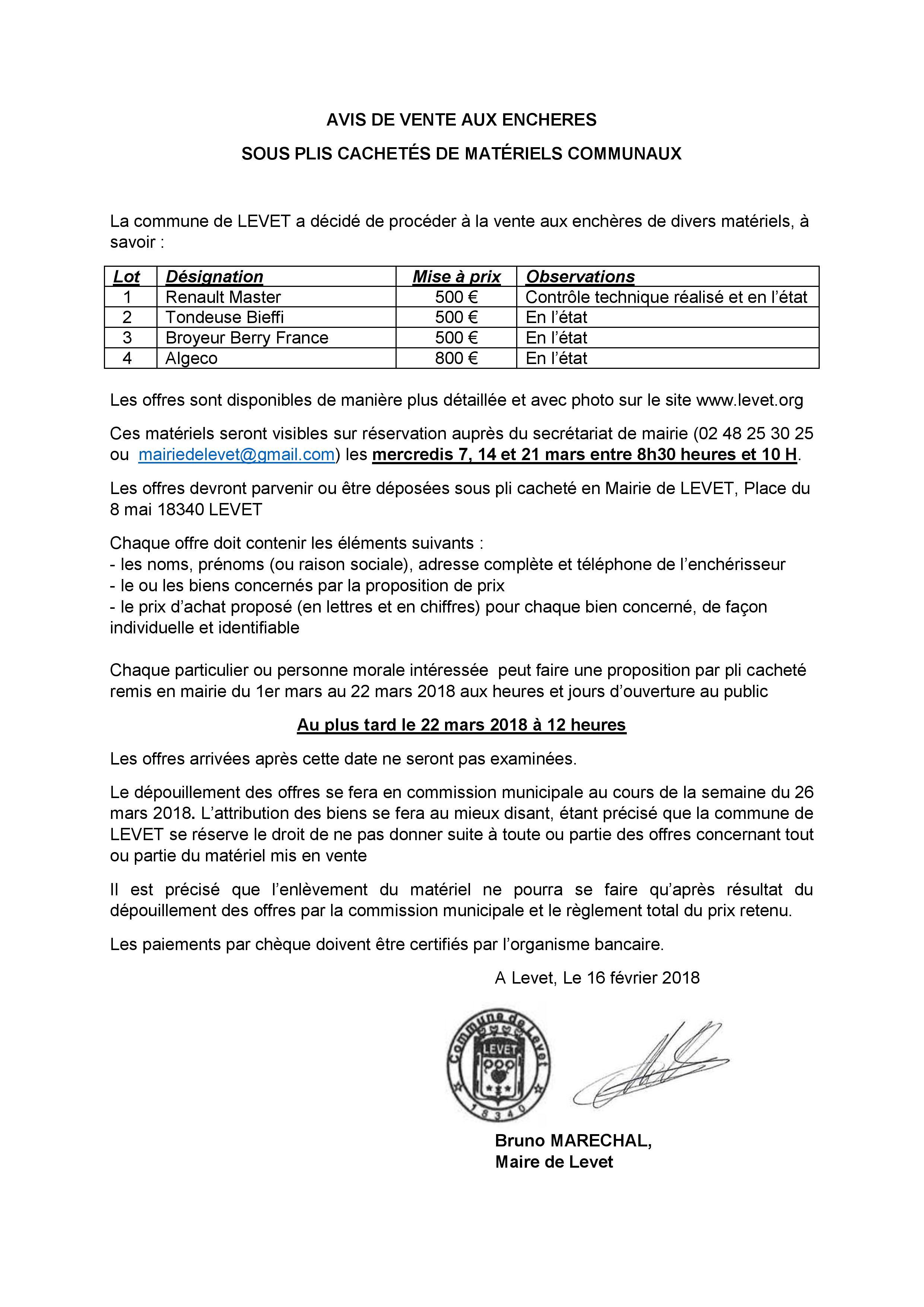 Levet 2018 02 23 Avis De Vente Aux Encheres Page 001